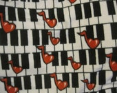 Reserved for Carol - Heart Notes on Piano Keys Fleece Fabric - Ready to Ship Now