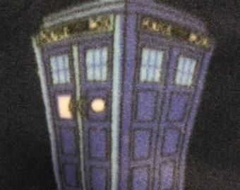 Handmade 2 Layer Fleece Blanket - Dr Who Phone Booth Tardis on Blue with Blue