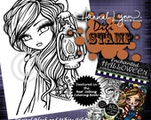 PRINTABLE Digi Stamp Spooky Walk Enchanted Halloween Coloring Page Fun Fantasy Art Hannah Lynn
