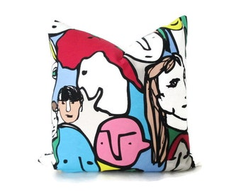 Pillow Cover Pop Art IKEA Beckmans College of Design Faces Both Sides 24 x 24