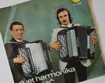 Funny Vintage 1970s Yugoslavian Duet Harmonika CIRKOVIC 45 Record...Accordion Music...Ultimate Kitsch...