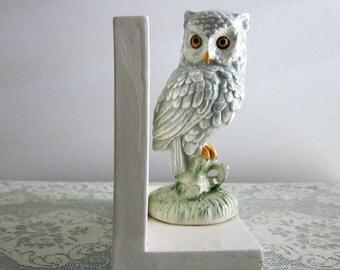 Vintage Porcelain Horned Owl Bookend  -  Owl Bookend - Country Cottage Book end - Collectable - Woodland Decor - Boy Room Decor - Bobann23