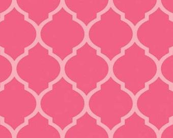 Two Tone Pink Quatrefoil Geometric Diamond Flannel, 1 Yard
