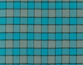 Teal Grey and Black Square Check Plaid Robert Kaufman Mammoth Plaid Flannel, 1 Yard