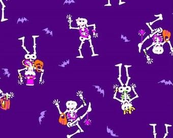 Purple Orange and White Dancing Skeleton and Bat Halloween 4 Way Stretch Cotton Lycra Jersey Knit, 1 Yard