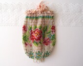 1920s Beaded Drawstring Bag / bright colorful flowers glass beads & tatting Edwardian Art Nouveau