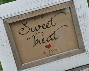 Rustic Wedding Sweet Treat Sign - Baby Shower Sign, Rustic Wedding Sign - Sweet Table Sign, Candy Buffet Sign - 5x7 Rustic, Kraft Sign