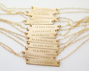 Roman Numeral Date Gold Bar Necklace - Hand Stamped Jewelry - Layering Necklace Customized by Betsy Farmer Designs /