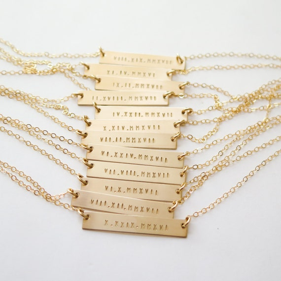 Roman Numeral Date Gold Bar Necklace Hand Stamped Jewelry