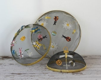 Picnic Food Covers / Set of 3 Decorative Fly Dish Screen Covers / Camping