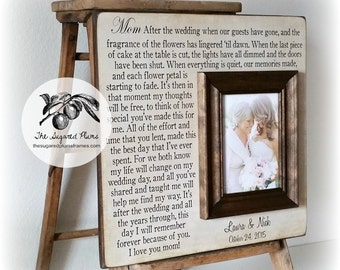 Wedding Picture Frame Mother of the Bride Gift, Parents Thank You Mom Dad Wedding Sign Dates Frame, wedding cake topper, reception, 16 X 16