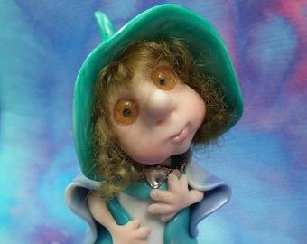 "Elf Maiden 'Dilys' 5"" Art Doll with jewels OOAK Sculpt by Sculpture Artist Ann Galvin Fairy Faerie"