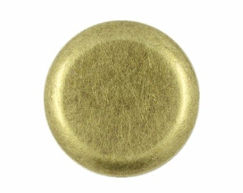Metal Buttons - Flat Antique Brass Metal Shank Buttons , 1 inch , 10 pcs