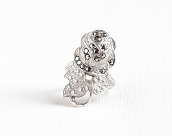 Vintage Sterling Silver Rose Marcasite Ring - Retro 1950s 1960s Size 5 Uncas Flower Floral Statement Art Deco Style Jewelry