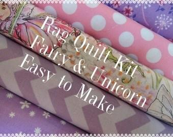 Fairy and Unicorn Rag Quilt Kit, Premium Designer Fabric, Easy to Make, Personalized