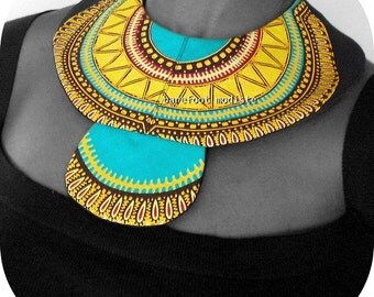 Striking African Bib necklace, Handmade fabric neckwear, One of a Kind Dashiki Patchwork Collar, B Modiste, Unique statement piece, One size