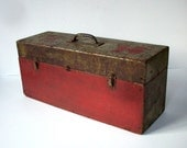 Vintage Industrial Painted Wood Tool Box / Distressed Primitive / Storage Organization / Well Traveled / Magically Deliscious / Red Green