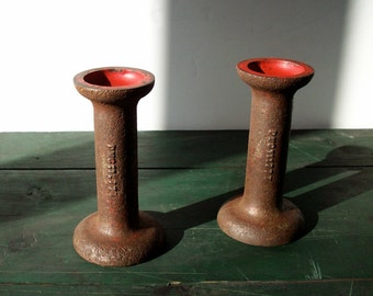 Vintage Industrial Candle Holders / Cast Metal / Primitive Rustic / Candlestick Holders / Table Setting / Rusty Iron Red / Heavy