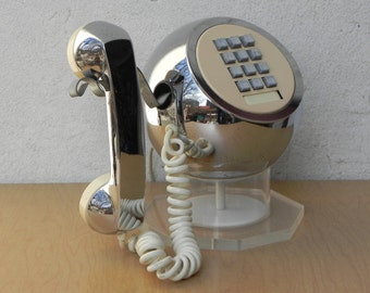 Chrome & Lucite Modern Sphere Touch Tone Phone by Teleconcepts