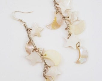 On a Clear Night - Celestial Shell Moon and Star Beaded Earrings