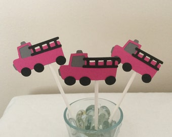 12 Pink and gray Firetruck  Cupcake Toppers Fire Truck birthday party decorations