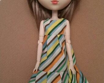 A pretty 3 tier striped flowy boho hippie dress for pullip