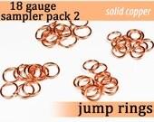 80 pcs 18g copper sampler pack 2 jump rings 18 gauge designer assortment assorted jumprings 18gsamp2 solid copper jewelry rings findings