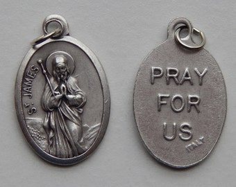 5 Patron Saint Medal Findings - St. James, Die Cast Silverplate, Silver Color, Oxidized Metal, Made in Italy, Charm, Drop, RM413