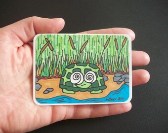 One of a Kind Original Turtle Artist Trading Card, ATC, turtles