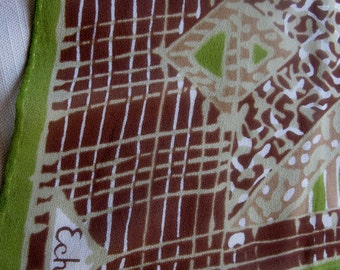 Cocoa Chiffon Silk ECHO long scarf brown green off white