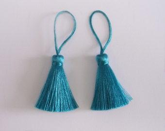 Cyan Tassel Silk Dangling Trim Fringe Jewelry Making Fashion Pendant Pillow Sewing Embellishments 2 pieces