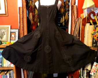 Glamorous 40s Black Mexican Cotton Dress with Elaborate Crochet Work