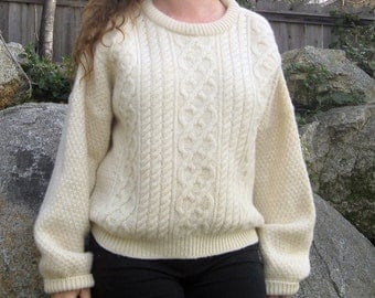 vintage Wool sweater Fisherman Knit Ivory color Cozy Nautical Chic L
