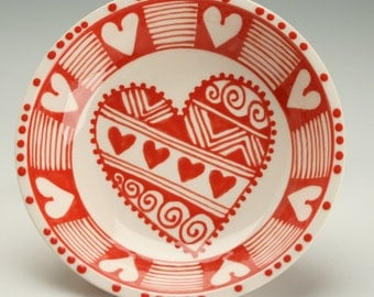 Red and White Small Heart Bowl Ring Bowl or Table Dinnerware
