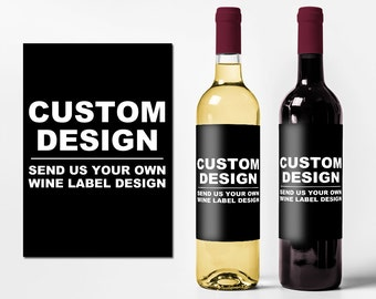 Custom Wine Bottle Labels - Create Your Own Wine Bottle Labels - Personalized Wedding Event Favors Waterproof Printed Wine Stickers WB-8888