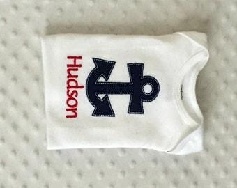 Baby Boy  Personalized Bodysuit , Anchor Theme