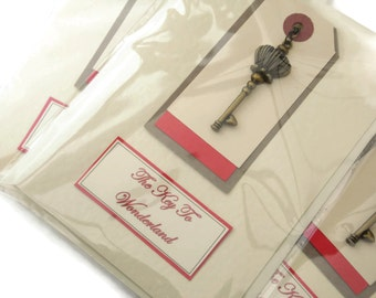 Will ship 20th August - Alice Key Necklace & card - The KEY to WONDERLAND - literary Gift Etsy uk unique