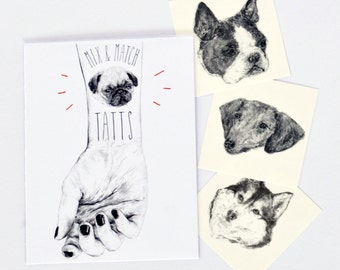 "Temporary ""Dog Tatts"" Tattoos - One cool fake doggo tatts quick pupper waterproof non toxic tats for kids Cute puppy festival fun pug"