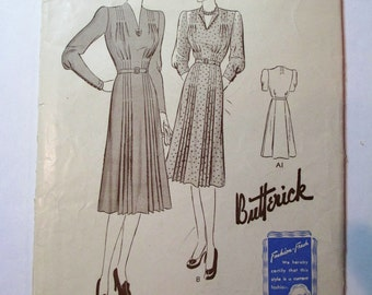 "Antique 1940's Butterick Pattern #8774 - size 36"" Bust"