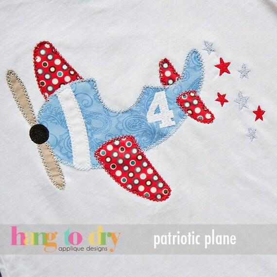 Sample sale patriotic plane appliqu shirt or bodysuit for Applique shirts for sale