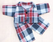Waldorf Doll Clothes-Two piece Waldorf Doll Chechered Flannel pajamas ,fit 10 inch dolls