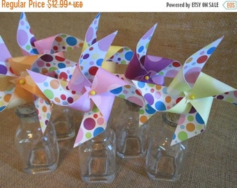 SALE 50% OFF Party Favors Paper Pinwheels Rainbow Favors Cupcake Toppers Pinwheels Birthday Party Favors Baby Shower Favors B