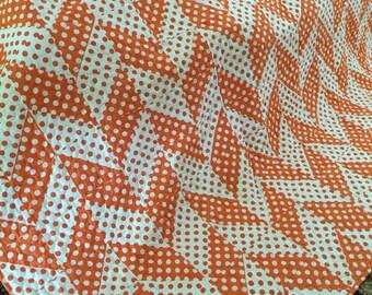 Quilt Herringbone Orange Polka Dot Twin Made to Order