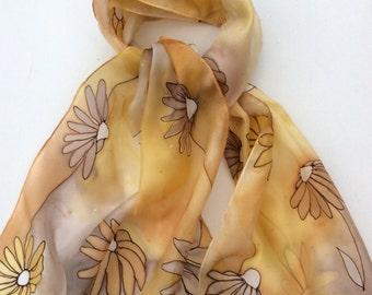 Daisy hand painted silk scarf.  Golden Daisy Scarf. Silk scarves.