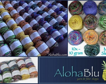 "MENEHUNE Mini Skeins ""Hawaii Set"": 10x - 10gram Hand-dyed Hawaiian-themed Superwash Merino fingering/sock yarn balls - 100 grams total"