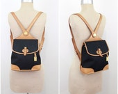 Vintage Dooney and Bourke Cabriolet Collection Black Cavas With Tan Leather Backpack