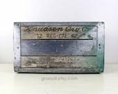 Vintage 1962 Knudsen Cry. Co. Milk Crate, Wood Metal Crate , Metal Strap Wood Box, Wedding Decor, Rustic Decor, Item No 1558