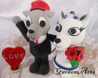 NEW--Mascot Wedding Cake Topper-Custom UK & UT-Unique College Mascot Love Couple with circle clear base