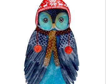 Watercolor owl, Woodland nursery, Animal Paintings, Fox, Bear, Deer, fawn, watercolor animal, woodland, kids posters, Owl painting