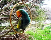 Carved Wooden Parrot in Brass Ring - from the Philippines